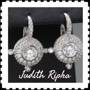 Judith Ripka Sterling Silver CZ Earrings